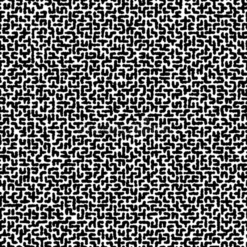 Seamless vector black and white texture of uneven labyrinth. Black and white hand-drawn pattern. stock illustration