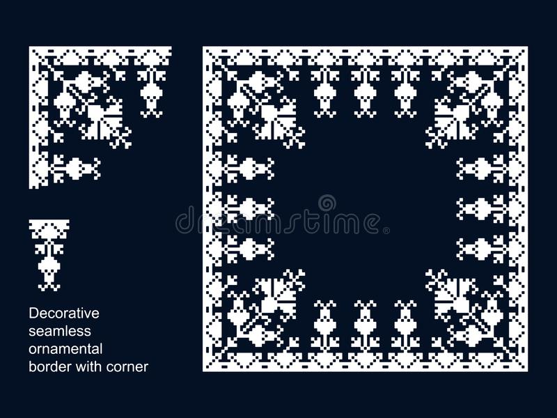 seamless vector border with corners. seamless template in swatch panel. floral geometric ornament stock illustration
