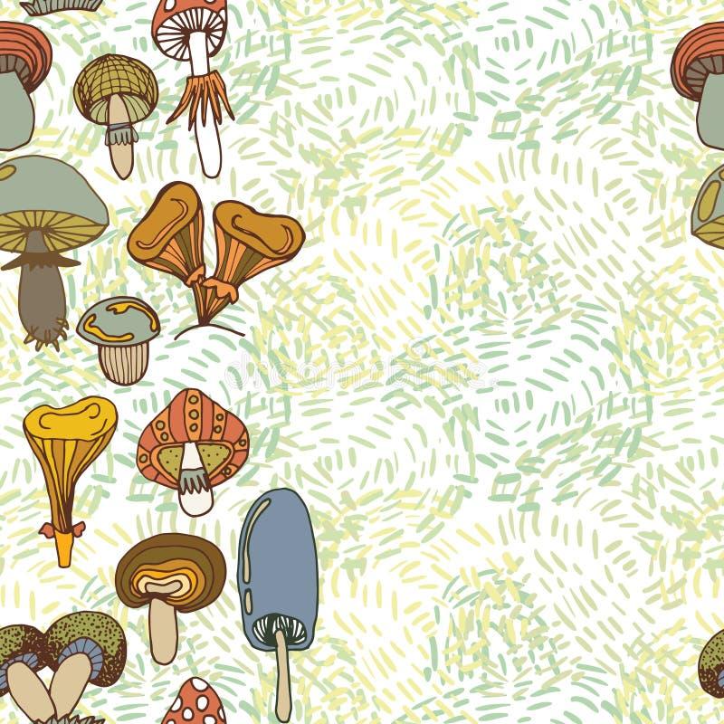 Seamless vector border of different mushrooms. Seamless vector border of different mushrooms royalty free illustration