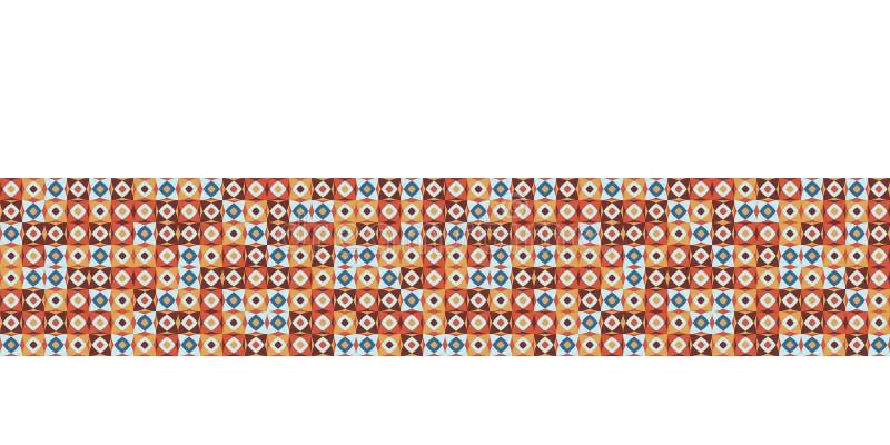 Seamless vector border dot grid pattern. Hand drawn square retro geometric mosaic. Modern hipster banner trim. Seamless vector border dot grid pattern. Hand stock illustration