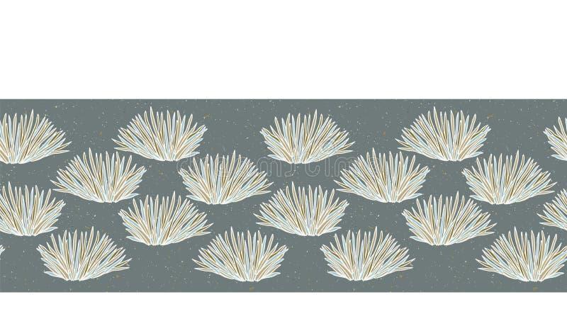 Seamless vector border grass pattern. Hand drawn leaf bush ornamental banner trim. Retro art deco ribbon edge. Seamless vector border grass pattern. Hand drawn royalty free illustration