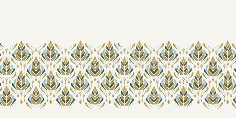 Seamless vector border pattern. Hand drawn leaf floral damask. Ornamental baroque all over print. Retro art deco banner trim. Seamless vector border pattern vector illustration