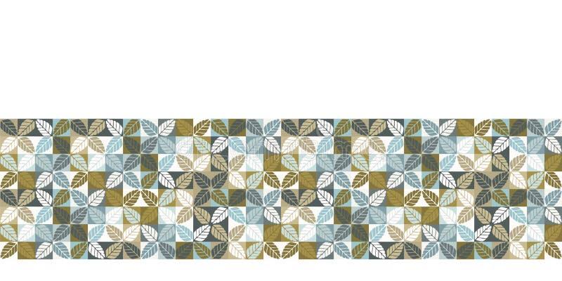 Seamless vector border pattern. Hand drawn leaf floral geometric mosaic grid. Modern all over print retro banner trim. Seamless vector border pattern. Hand drawn royalty free illustration