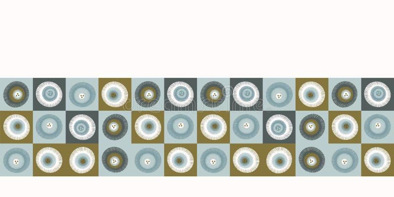 Seamless vector border pattern. Hand drawn square geometric mosaic grid. Modern all over print polka dot banner. Seamless vector border pattern. Hand drawn royalty free illustration
