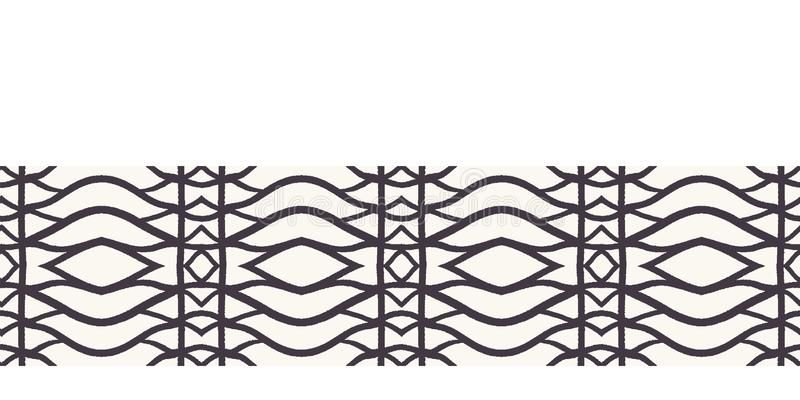 Seamless vector border pattern. Hand drawn woven trellis grid. Geometric black and white line background. Abstract hipster ribbon. Seamless vector border pattern vector illustration