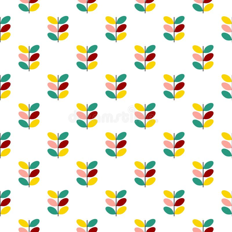 Seamless vector botanical pattern of graphic twigs with colorful leaves in pastel colors pink yellow turquoise maroon on white vector illustration