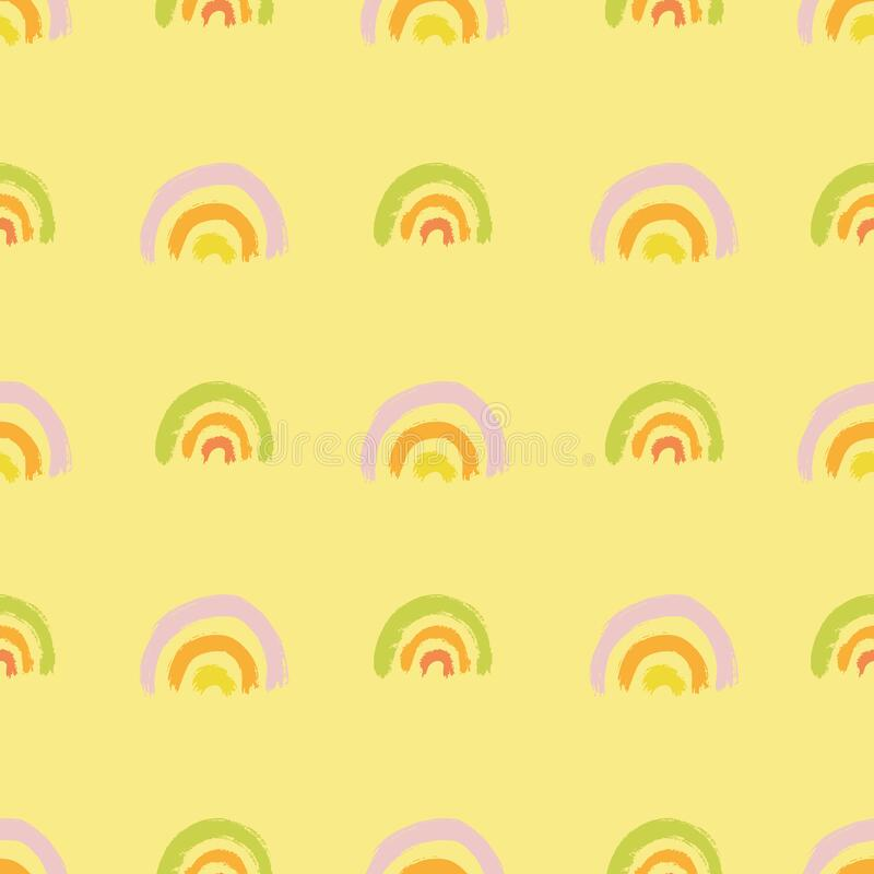 Vector brushstroke geometric line rainbow pattern. Seamless vector brushstroke geometric line rainbow pattern on yellow background. Hand painted brush texture in royalty free illustration