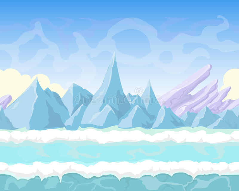 Seamless vector cartoon fantasy landscape with. Mountains, snow and ice for game design stock illustration