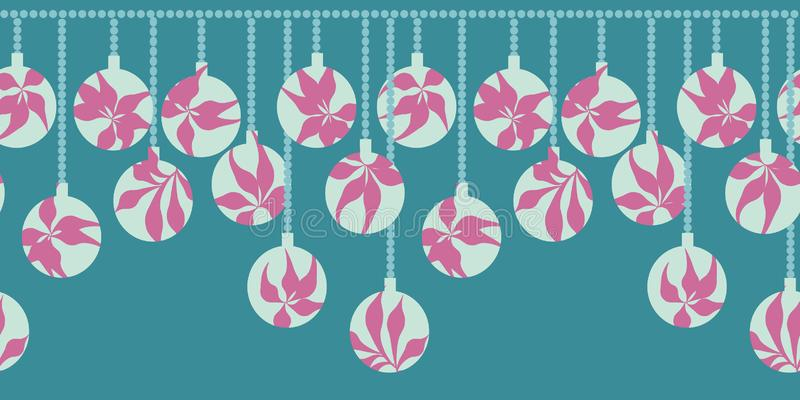 Seamless vector christmas border print with tropical themed baubles. A seamless vector christmas border print with tropical themed baubles on a teal background stock illustration