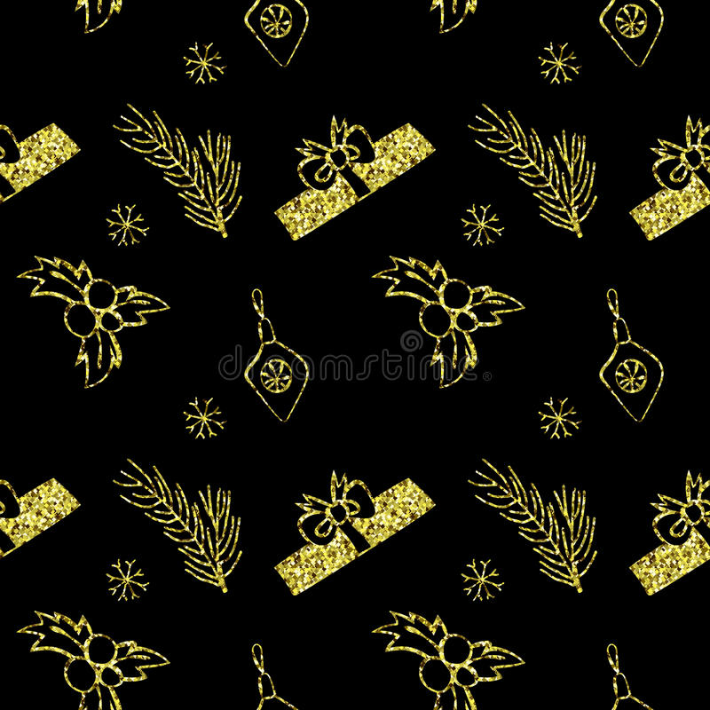 Seamless vector Christmas golden glitter texture. Tile backdrop with pine tree, gift box, christmas decoration, holly berry stock illustration