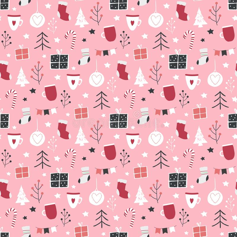 Seamless vector Christmas pattern with garland vector illustration