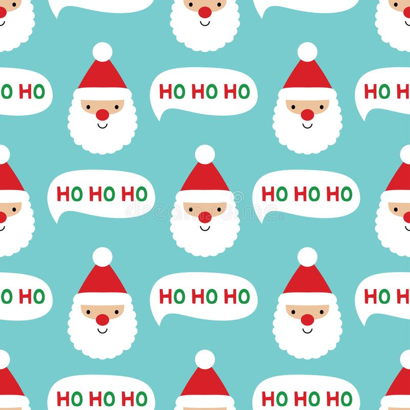 Seamless Christmas pattern with Santa Claus face stock illustration