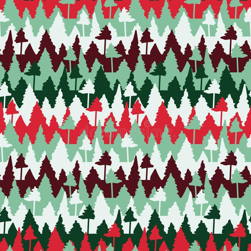 Seamless vector christmas pattern with stripes and trees stock illustration