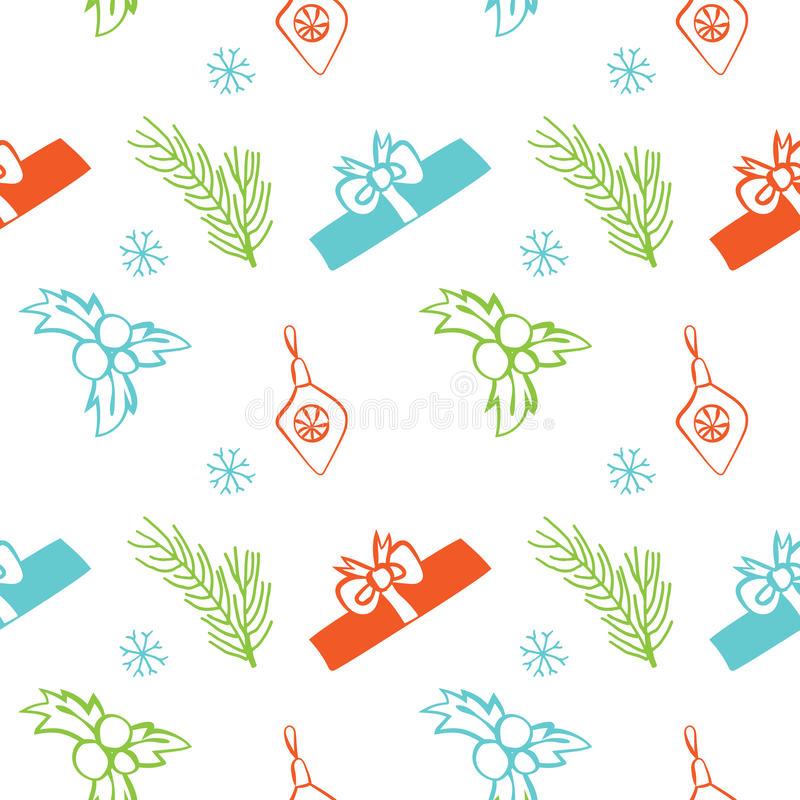 Seamless vector Christmas texture. Seamless backdrop with pine tree, gift box, christmas decoration, holly berry, snowflakes. royalty free illustration