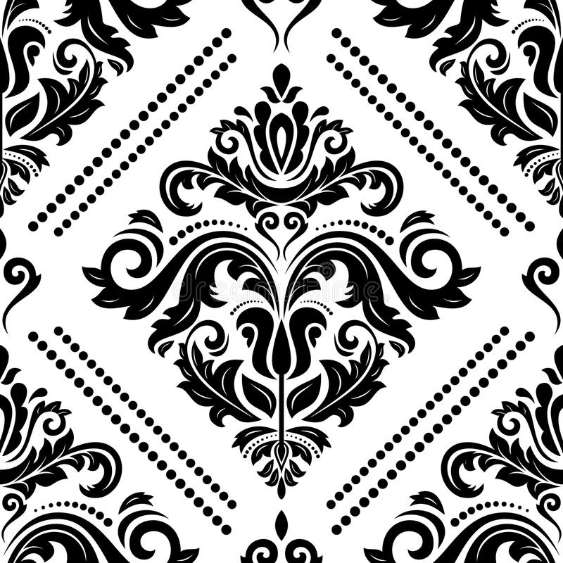 Seamless Vector Classic Pattern. Seamless classic vector pattern. Traditional orient ornament. Classic vintage black and white background royalty free illustration