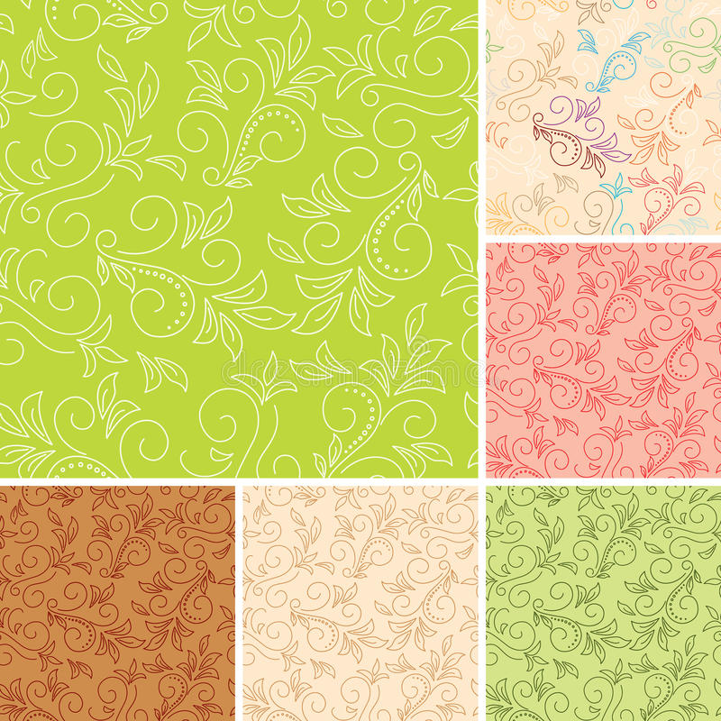 Download Seamless Vector Color Patterns  With Flora Stock Vector - Image: 24188551
