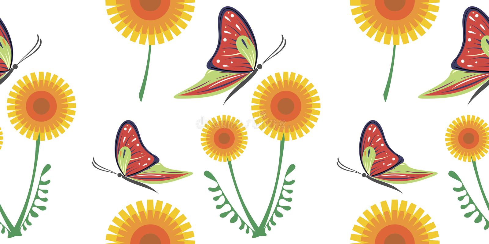 Seamless vector colorful pattern with yellow dandelions and red butterflies on the white background.  vector illustration