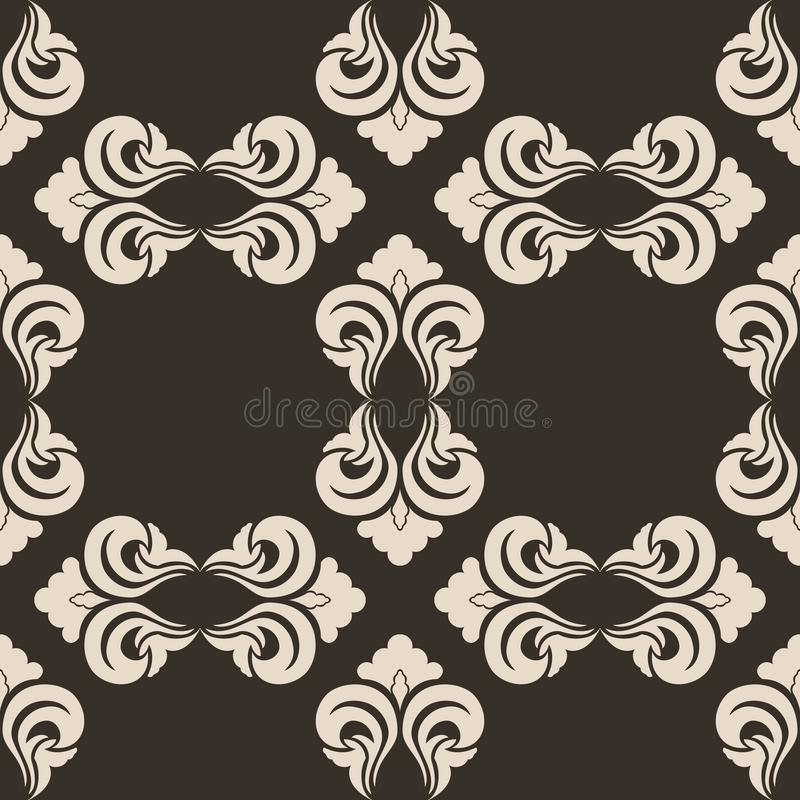 Seamless vector decorative pattern in beige color with empty rhombuses on a brown background 库存例证