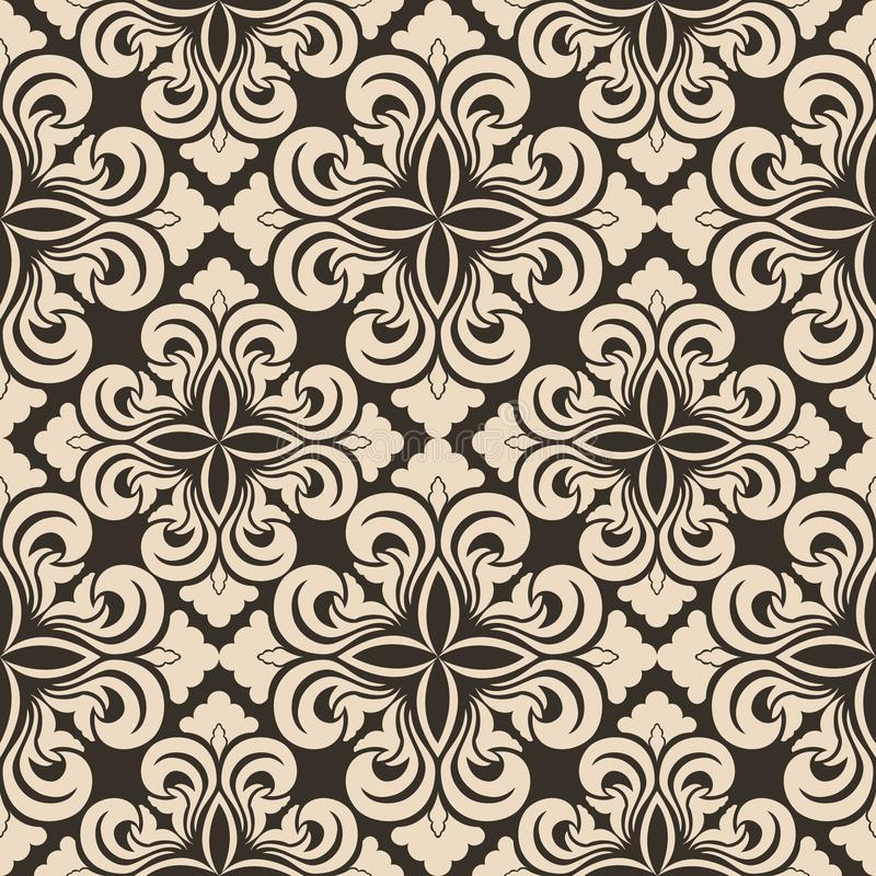 Seamless vector decorative pattern of beige floral elements in the form of a rhombus on a brown background. Symmetric texture for stock illustration