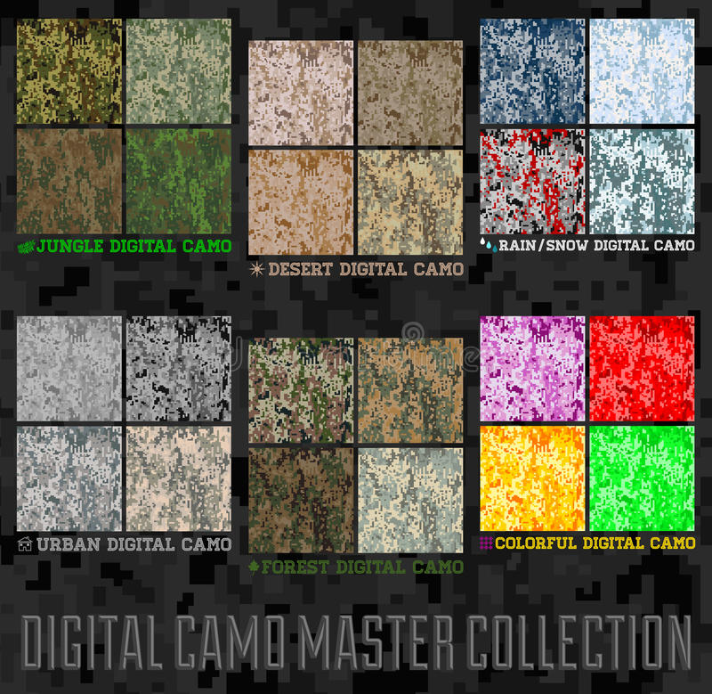 Seamless vector digital Pixel Camouflage collection royalty free illustration