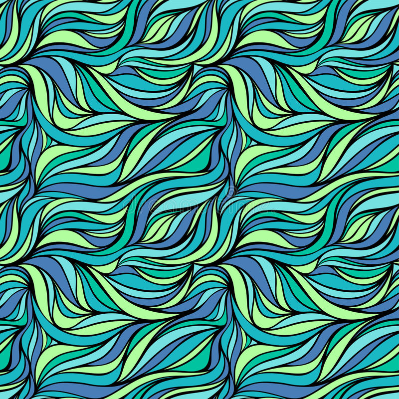 Seamless vector fabric pattern with lines. Abstract ocean wave nature eco background. stock illustration