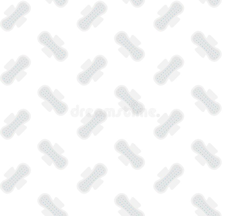 Seamless vector flat pattern of feminine woman sanitary hygiene menstruation pad napkin. Isolated on white background stock illustration