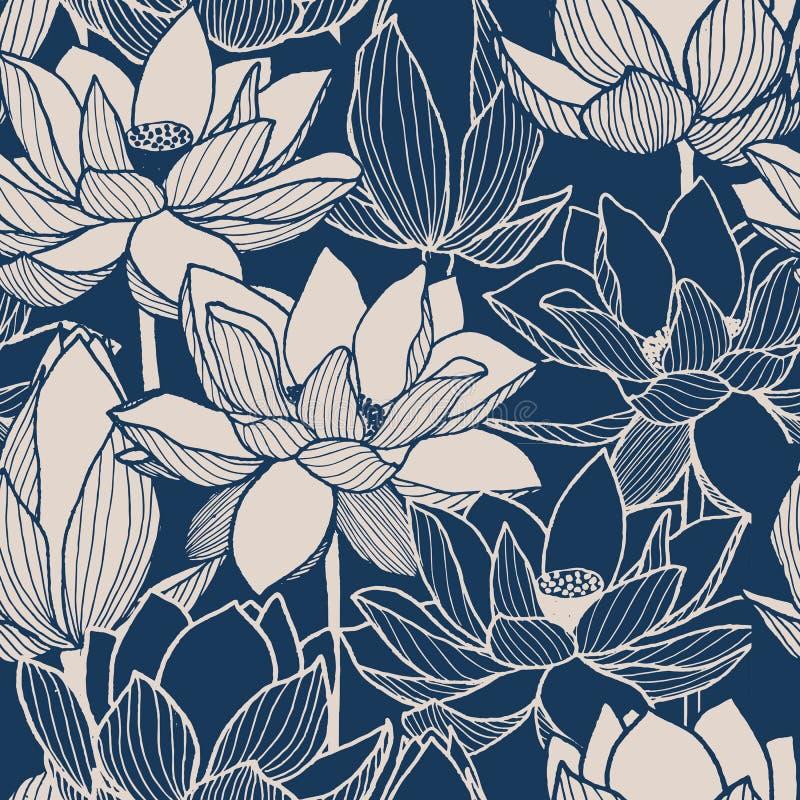 Seamless vector floral lotus hand drawn pattern royalty free illustration