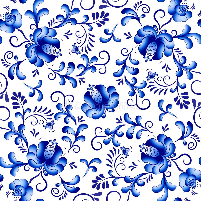 Seamless vector floral pattern background in the style of Gzhel. Traditional russian ornament. stock illustration