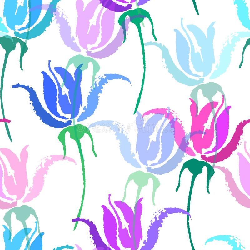 Seamless vector floral pattern. Beautiful vector hand drawn texture. Romantic botanical background for web pages vector illustration
