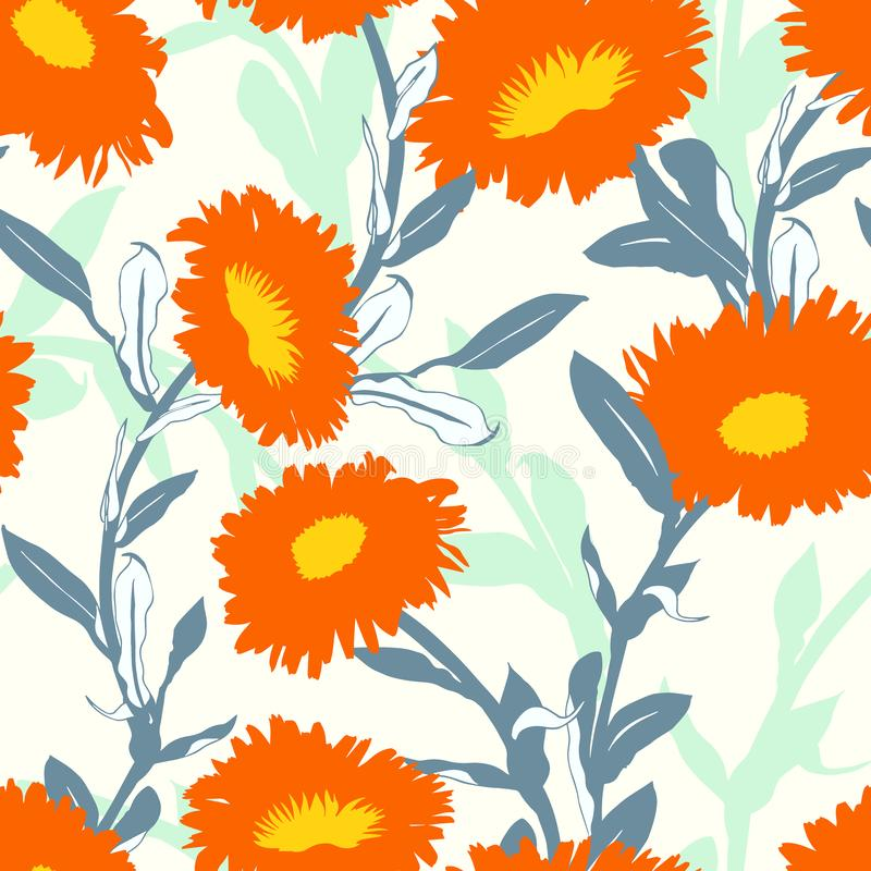 Seamless vector floral pattern with big bold flowers stock illustration
