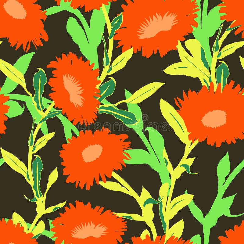 Seamless vector floral pattern with big bold flowers vector illustration