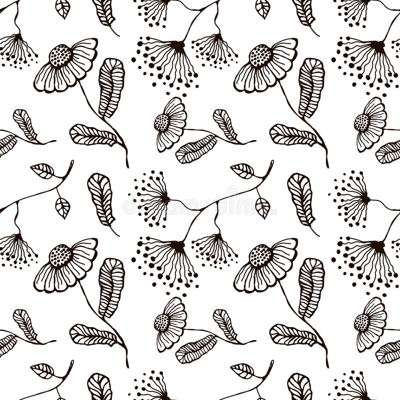 Seamless vector floral pattern. Hand drawn black and white background with flovers and leaves. stock illustration