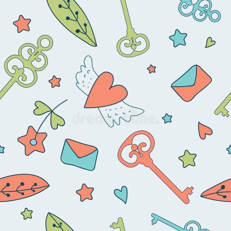 Seamless vector floral pattern. Love illustration of cute keys, stock illustration
