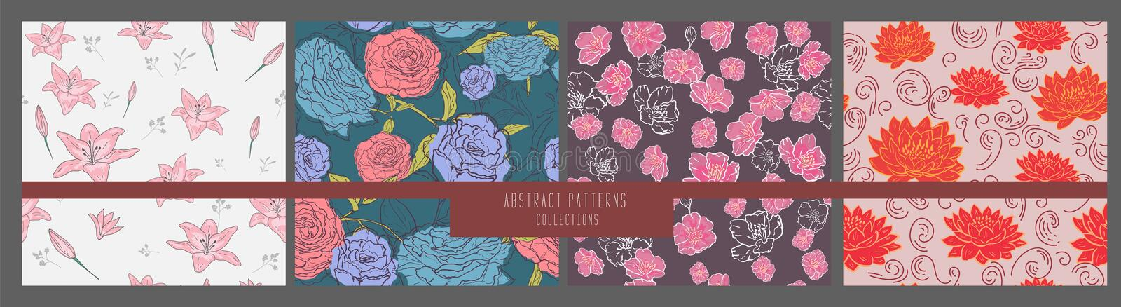 Seamless vector floral pattern.set flowers.abstract background. for design wallpapers,textile, print, pattern fills, web page royalty free illustration