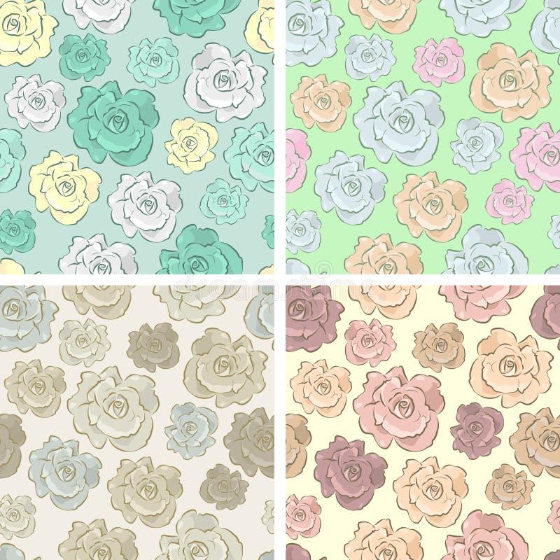 Seamless vector floral pattern set stock illustration