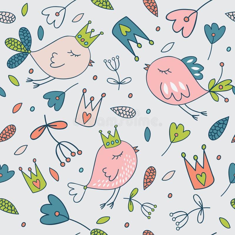 Seamless vector floral pattern. Spring illustration of cute bird vector illustration