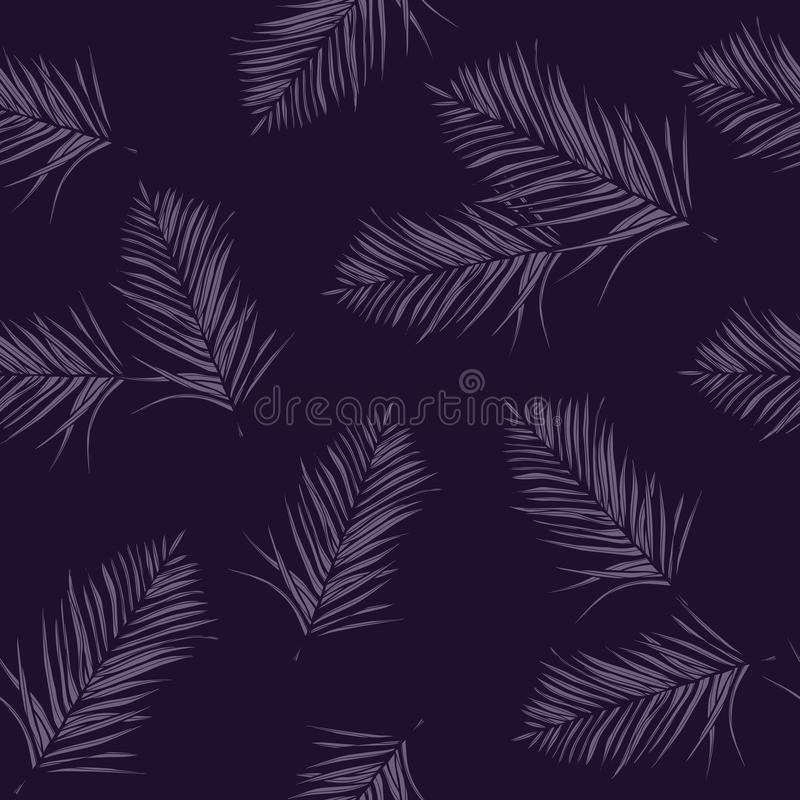 Seamless vector floral pattern with tropical palm leaves, jungle leaves. Leaves background.  royalty free illustration