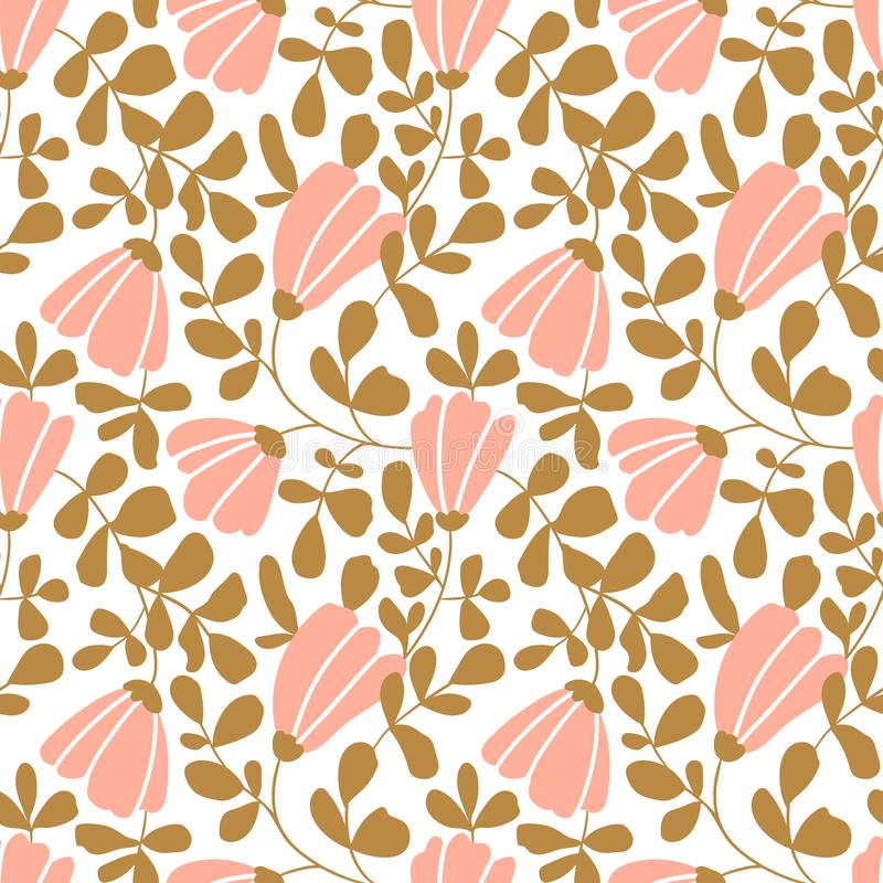 Seamless vector floral wallpaper. Decorative vintage pattern in classic style with flowers and twigs. royalty free illustration
