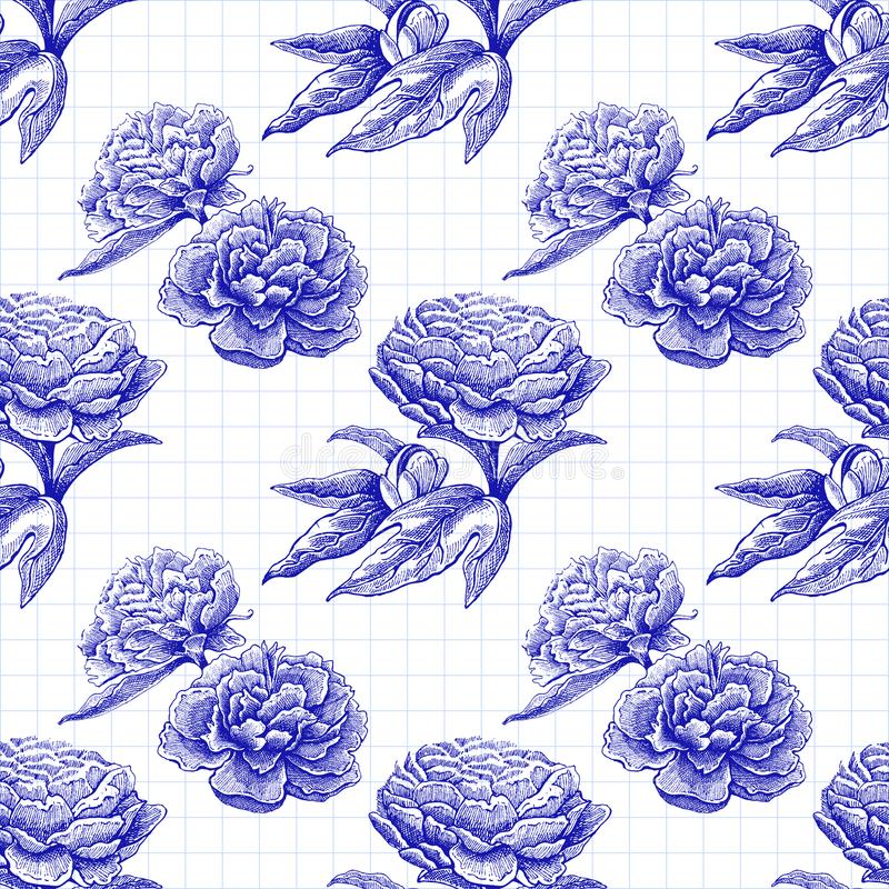 Seamless vector flower peony rose pattern with sketch flowers and leafs. Hand drawn image royalty free illustration