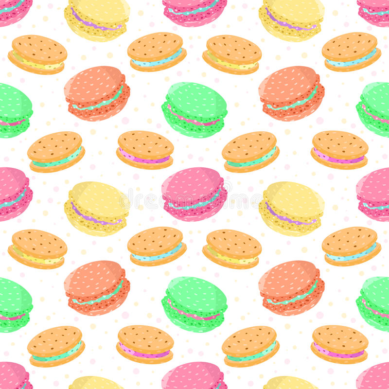 Seamless vector food pattern with macaroons and sandwich cookies royalty free illustration