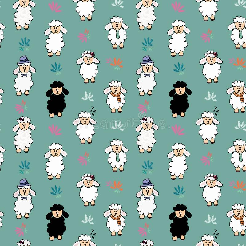 Seamless vector funny sheep background pattern with flower. Sheep with different accessories stock illustration