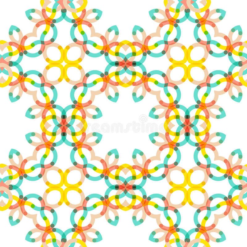 Seamless vector geometric abstract pattern. Creative round shapes made of short lines. Modern background royalty free illustration