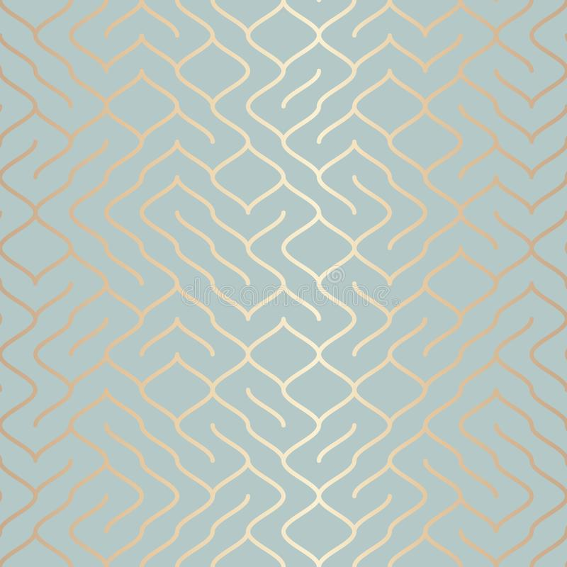 Seamless vector geometric golden element pattern. Abstract background copper line texture on blue green. Simple minimalistic stock illustration