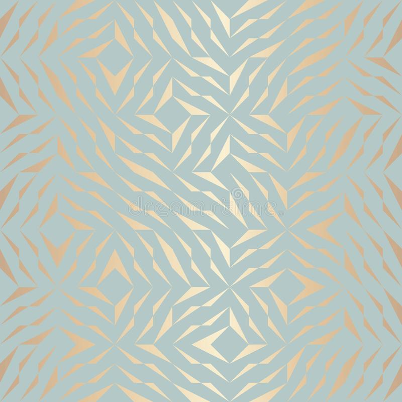 Seamless vector geometric golden element pattern. Abstract background copper texture on blue green. Simple minimalistic graphic royalty free illustration