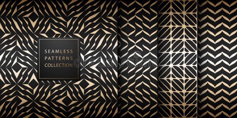Seamless vector geometric golden element pattern set. Abstract background gold texture on black. Simple minimalistic dark print stock illustration