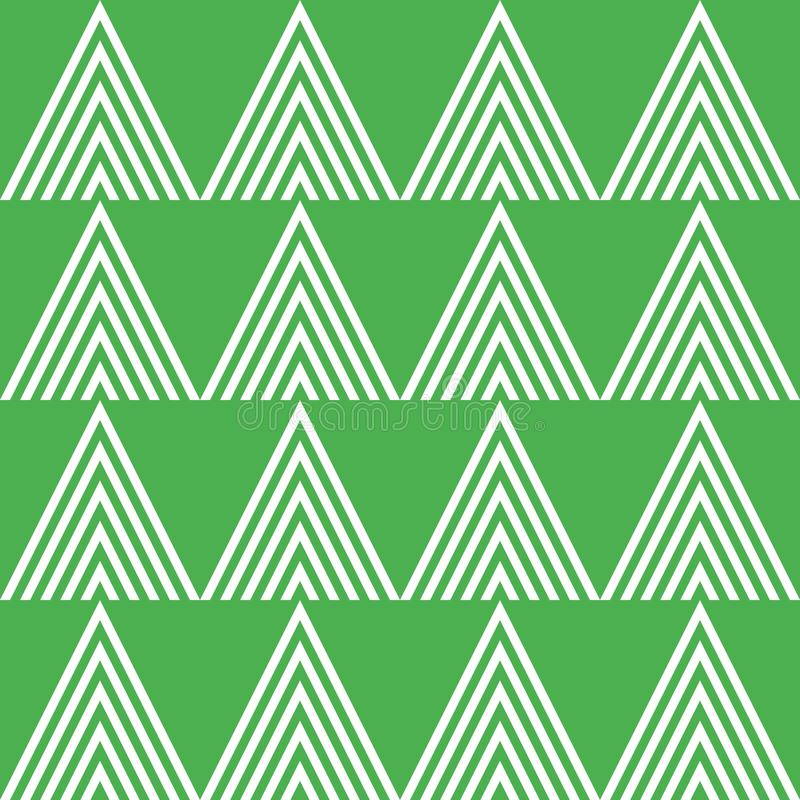 Seamless vector geometric pattern with outlined triangles. In green and white colors royalty free stock image