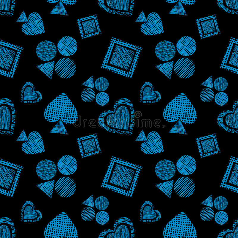 Seamless vector geometrical pattern with icons of playing cards. background with hand drawn textured geometric figures. Pastel Gra vector illustration