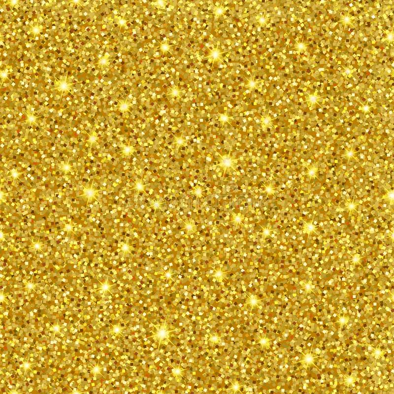 Seamless vector gold glitter texture. Sparkle luxury golden background stock images
