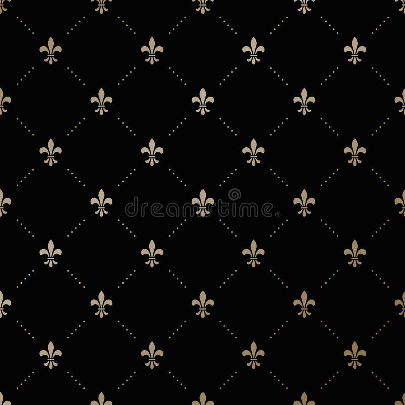 Seamless vector gold pattern with Fleur-de-lis stock illustration
