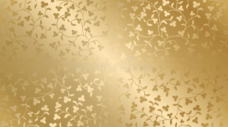 Seamless vector golden texture floral pattern. Luxury repeating damask background. Premium wrapping paper or silk gold cloth vector illustration
